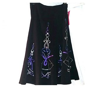 NWT Sunny Leigh black embroidered skirt